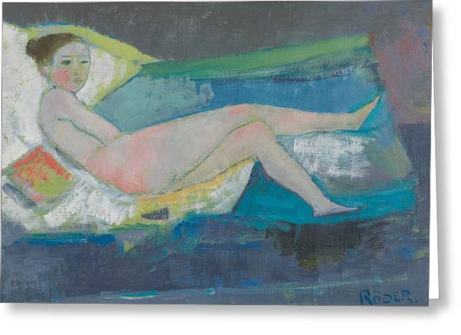 Odalisque Photographs Greeting Cards - The Young Model Oil On Canvas Greeting Card by Endre Roder