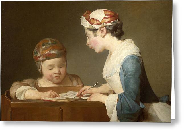 Chardin Greeting Cards - The Young Schoolmistress Greeting Card by Jean-Simeon Chardin