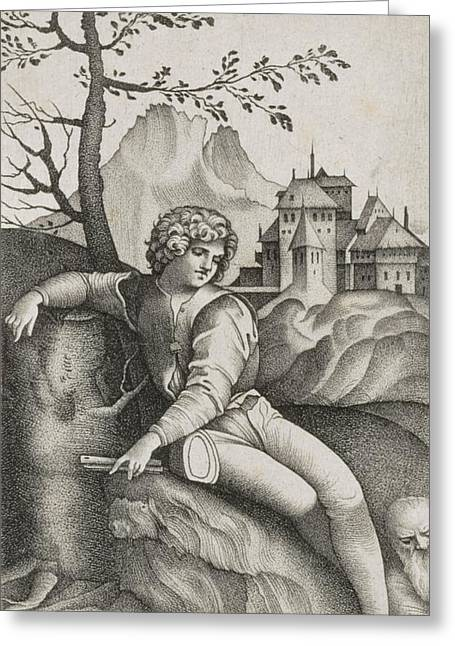 Italianate Greeting Cards - The Young Shepherd Engraving Greeting Card by Giulio Campagnola