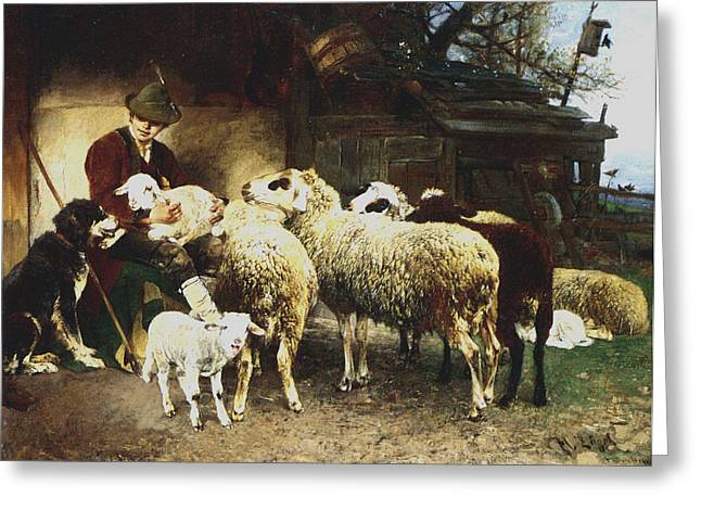 Sheep Digital Art Greeting Cards - The Young Shepherd Greeting Card by Heirich von Zugel