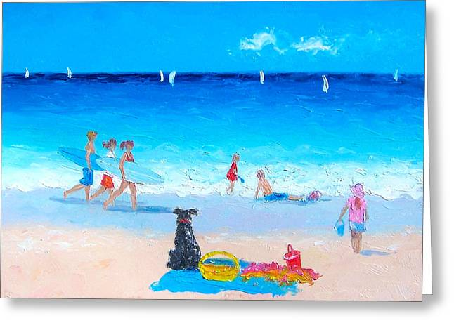 Beach Cottage Style Greeting Cards - The Young Surfers Greeting Card by Jan Matson