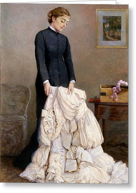 Sorrow Greeting Cards - The Young Widow, 1877 Greeting Card by Edward Killingworth Johnson