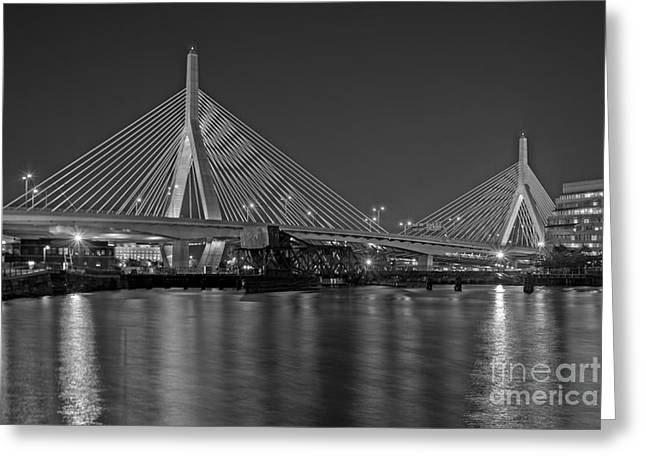 Bunker Hill Greeting Cards - The Zakim Bridge BW Greeting Card by Susan Candelario