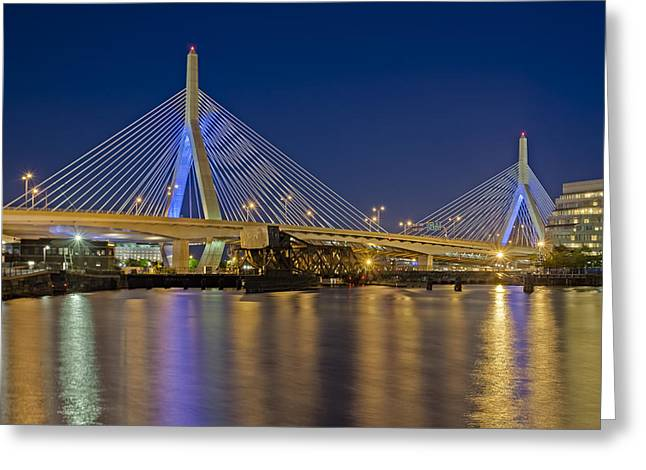 Blue Hour Greeting Cards - The Zakim Bridge Greeting Card by Susan Candelario