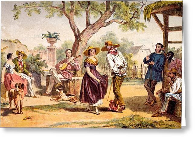Cuba Greeting Cards - The Zapateado - National Dance, 1840 Greeting Card by Federico Mialhe