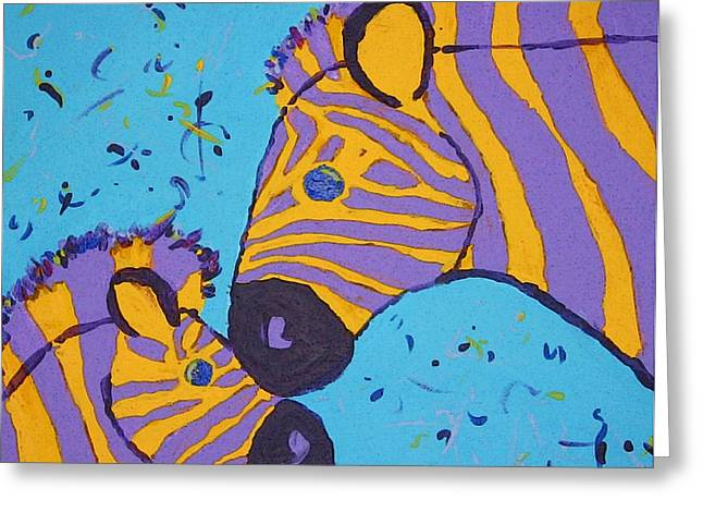 Zebra Colt Greeting Cards - The Zebra Nuzzle Greeting Card by Yshua The Painter