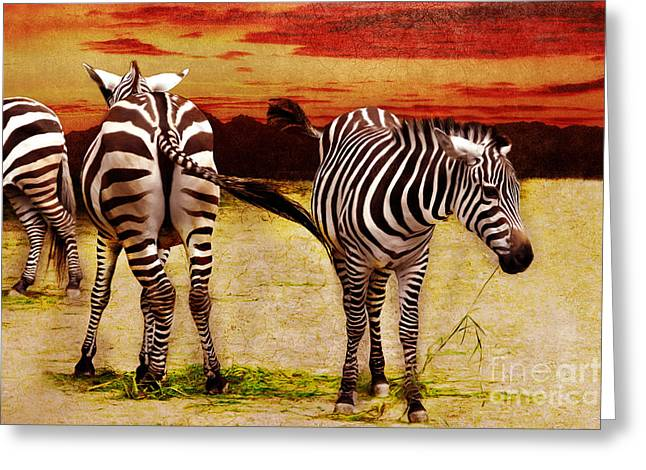 Hoofed Mixed Media Greeting Cards - The Zebras Greeting Card by Angela Doelling AD DESIGN Photo and PhotoArt