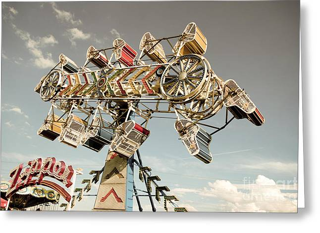 Carnival Ride Greeting Cards - The Zipper Greeting Card by Colleen Kammerer