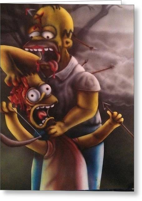 Bart Simpson Greeting Cards - The Zombies Greeting Card by Richard Armstrong