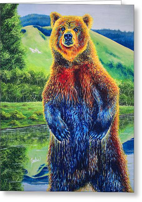 Kodiak Paintings Greeting Cards - The Zookeeper - Special Missoula Montana Edition Greeting Card by Teshia Art