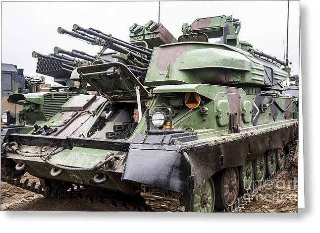 Anti-aircraft Greeting Cards - The Zsu-23-4 Shilka Of The Polish Armed Greeting Card by Andrew Chittock