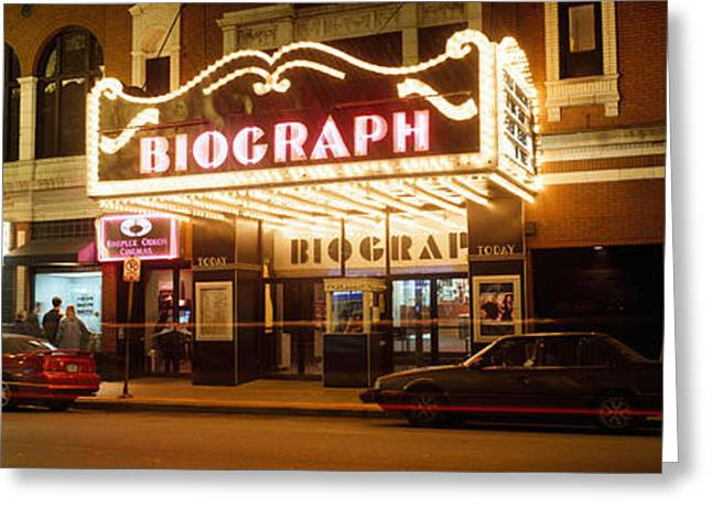 Western Script Greeting Cards - Theater Lit Up At Night, Biograph Greeting Card by Panoramic Images