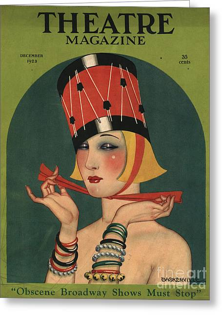 Twentieth Century Drawings Greeting Cards - Theatre 1923 1920s Usa Magazines Art Greeting Card by The Advertising Archives
