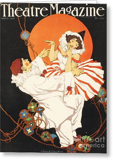 Twentieth Century Greeting Cards - Theatre Magazine 1920s Usa Pierrot Greeting Card by The Advertising Archives