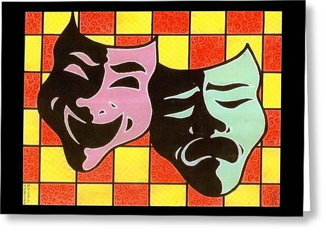 Theatre Masks Greeting Card by Jim Harris