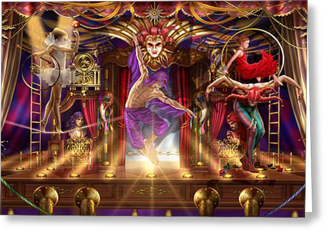 Theatre Of The Absurd Triptych  Greeting Card by Ciro Marchetti