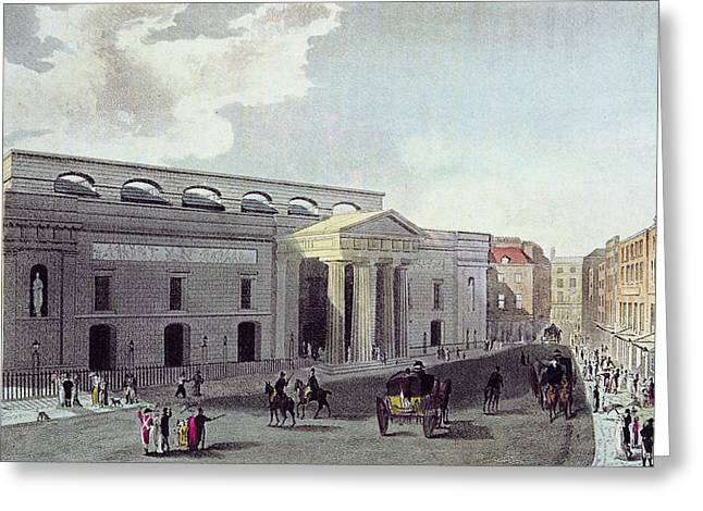 Thoroughfare Greeting Cards - Theatre Royal, Covent Garden, 1809 Colour Litho Greeting Card by English School