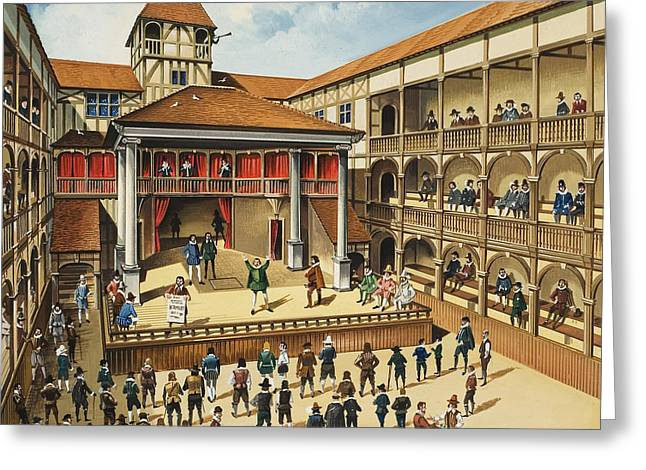 Theatre With Performance Of Hamlet Gouache On Paper Greeting Card by English School