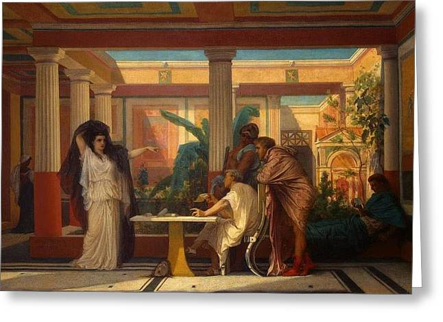 The Houses Greeting Cards - Theatrical Rehearsal in the House of an Ancient Roman Poet  Greeting Card by Gustave Boulanger