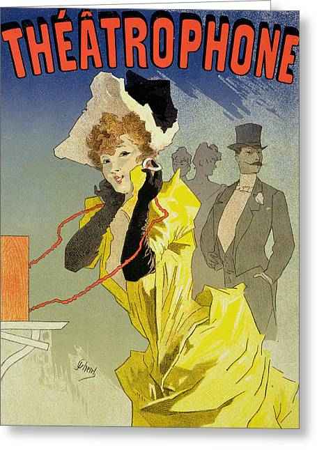 Posters Of Women Drawings Greeting Cards - Theatrophone Poster Greeting Card by Jules Cheret