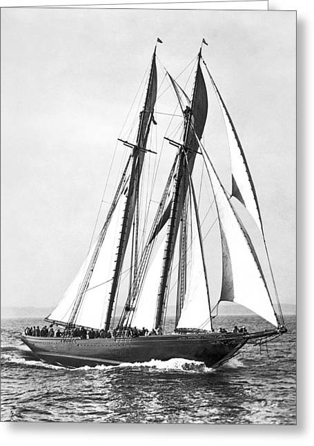 Thebaud Under Full Sail Greeting Card by Underwood Archives