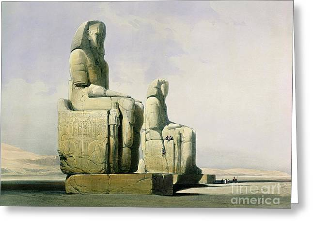 Historic Statue Paintings Greeting Cards - Thebes Greeting Card by David Roberts