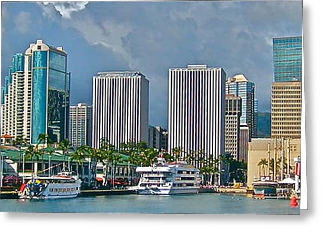 Photograph Of Painter Greeting Cards - TheBoat at Aloha Tower - No.113 Greeting Card by Joe Finney