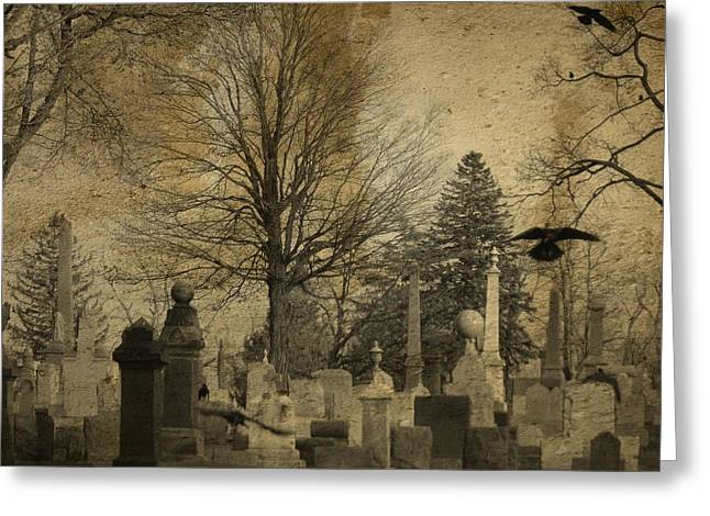 Birds In Graveyard Greeting Cards - Their Refuge Greeting Card by Gothicolors Donna Snyder