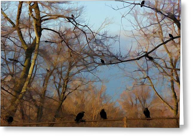 Crows In Trees Greeting Cards - Their Rusty Fence Greeting Card by Gothicolors Donna Snyder