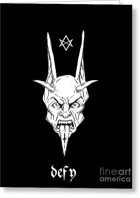 Levi Greeting Cards - Thelemic Devil Greeting Card by Alaric Barca