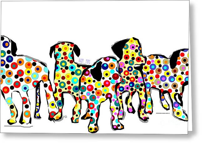 Puppies Mixed Media Greeting Cards - Them Pups Greeting Card by Bri Buckley