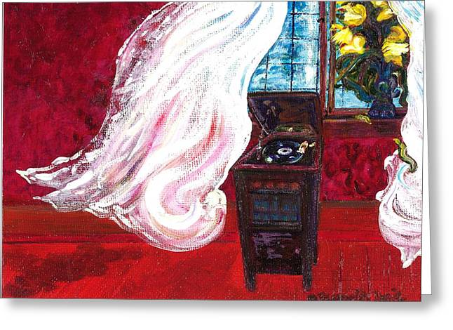 Dance Floor Paintings Greeting Cards - Then the Curtains Danced Greeting Card by J Reynolds Dail