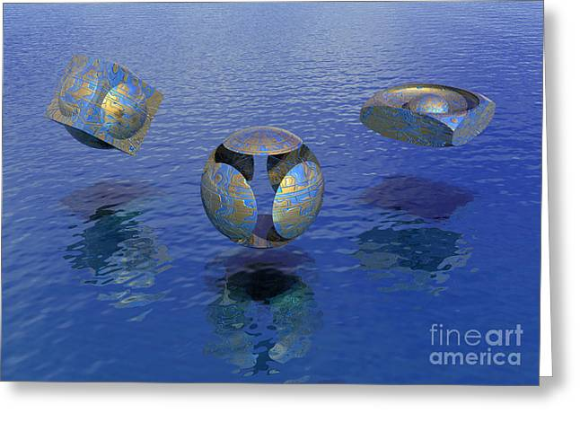 Surreal Geometric Greeting Cards - Then there were three - Surrealism Greeting Card by Sipo Liimatainen