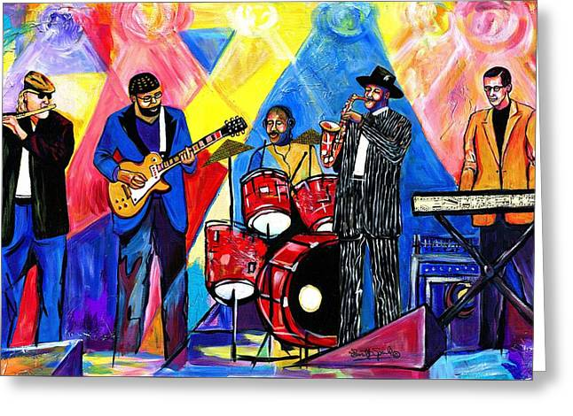 Wynton Marsalis Mixed Media Greeting Cards - Then 2 Now Greeting Card by Everett Spruill