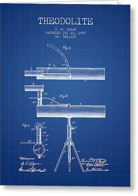 Recently Sold -  - Surveying Greeting Cards - Theodolite Patent from 1895 - Blueprint Greeting Card by Aged Pixel