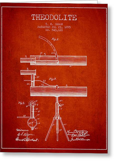 Surveying Greeting Cards - Theodolite Patent from 1895 - Red Greeting Card by Aged Pixel