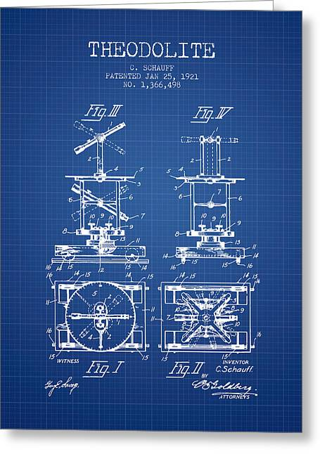 Land Surveyor Greeting Cards - Theodolite patent from 1921- Blueprint Greeting Card by Aged Pixel