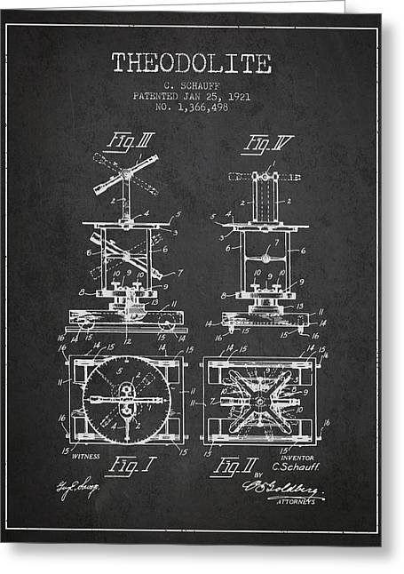 Land Surveyor Greeting Cards - Theodolite patent from 1921- Charcoal Greeting Card by Aged Pixel