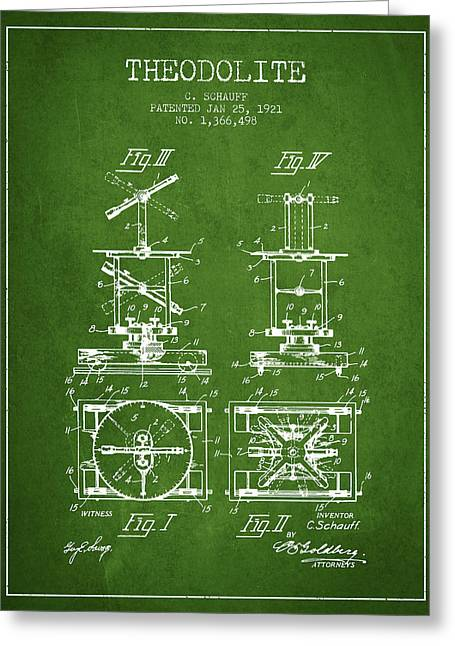 Land Surveyor Greeting Cards - Theodolite patent from 1921- Green Greeting Card by Aged Pixel
