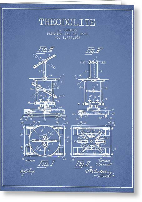 Surveying Greeting Cards - Theodolite patent from 1921- Light Blue Greeting Card by Aged Pixel