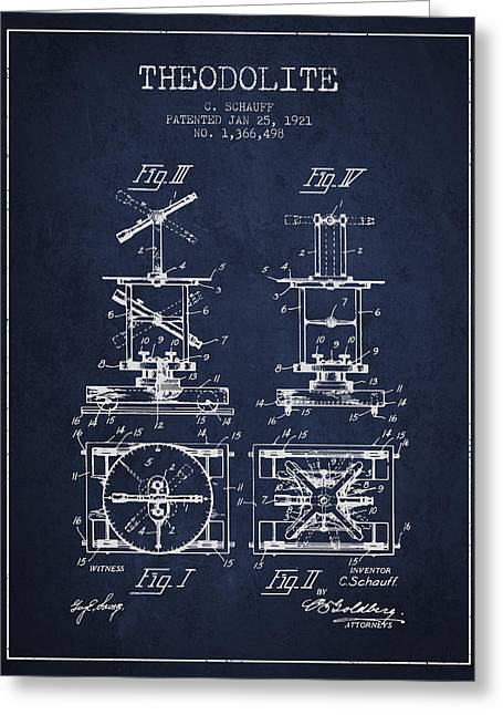 Surveying Greeting Cards - Theodolite patent from 1921- Navy Blue Greeting Card by Aged Pixel
