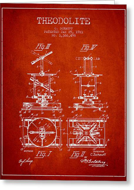 Land Surveyor Greeting Cards - Theodolite patent from 1921- Red Greeting Card by Aged Pixel