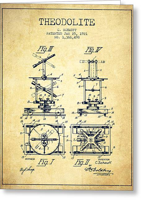 Land Surveyor Greeting Cards - Theodolite patent from 1921- Vintage Greeting Card by Aged Pixel