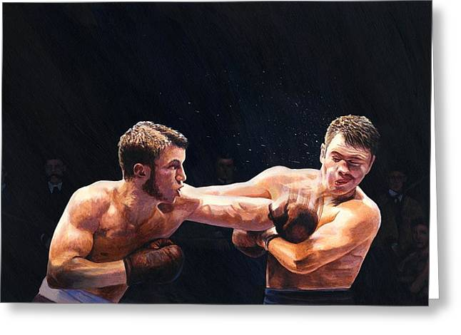 Impacting Greeting Cards - Theodore Roosevelt as a Young Man Boxing Greeting Card by Rob Wood