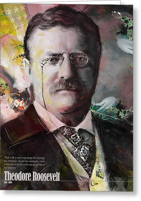 Garfield Greeting Cards - Theodore Roosevelt Greeting Card by Corporate Art Task Force