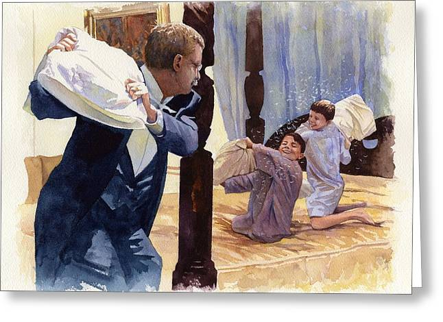 1900s Greeting Cards - Theodore Roosevelt Playing with his Two Youngest Boys Greeting Card by Rob Wood