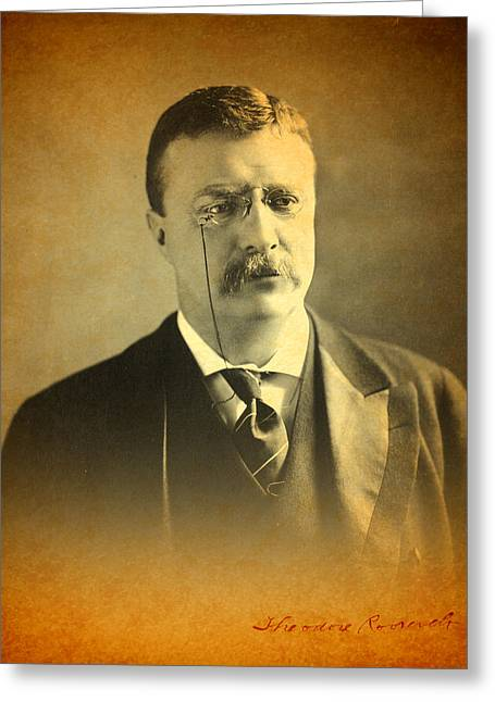 Theodore Greeting Cards - Theodore Teddy Roosevelt Portrait and Signature Greeting Card by Design Turnpike