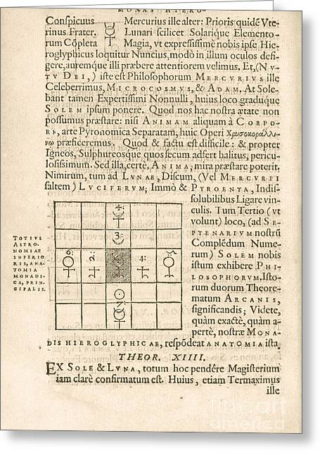 Esotericism Greeting Cards - Theorem 13, Monas Hieroglyphica (1564) Greeting Card by Library Of Congress