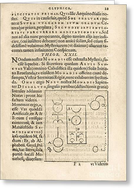 Esotericism Greeting Cards - Theorem 22, Monas Hieroglyphica (1564) Greeting Card by Library Of Congress