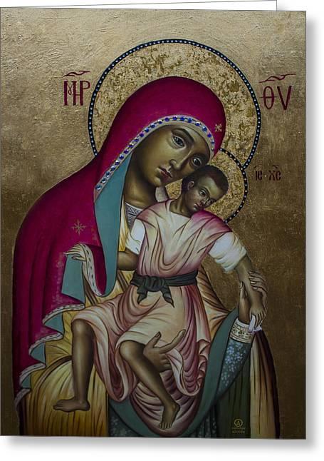 Byzantine Mixed Media Greeting Cards - Theotokos - Eleusa Umilenie Greeting Card by Aleksandar Tesanovic